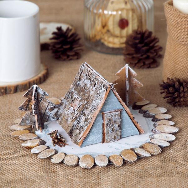 Winterlandschaft basteln – weihnachtliche Ideen, fantastisch einfache Anleitungen und Tipps birkenrinde haus bäume