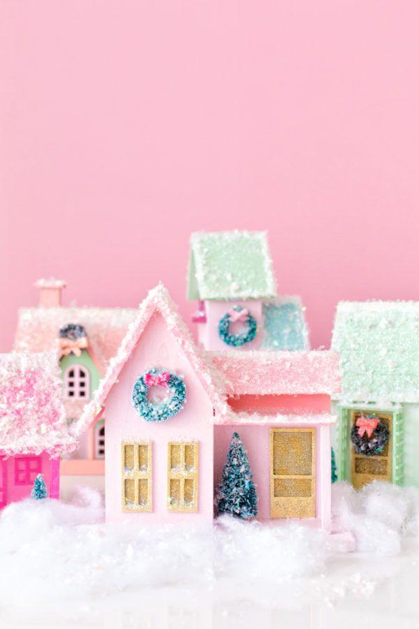 Winterlandschaft basteln – weihnachtliche Ideen, fantastisch einfache Anleitungen und Tipps buntpapier filz häuser bunt