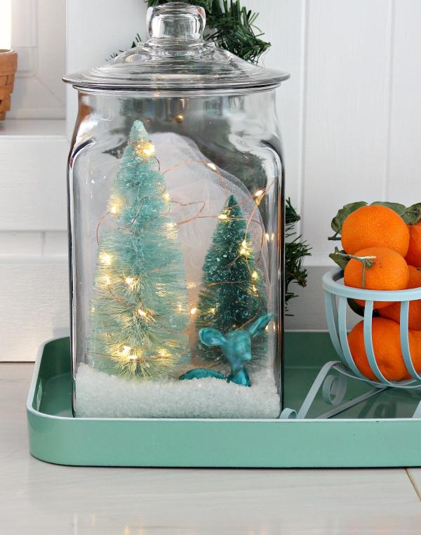 Winterlandschaft basteln – weihnachtliche Ideen, fantastisch einfache Anleitungen und Tipps diorama glas landschaft lichterkette