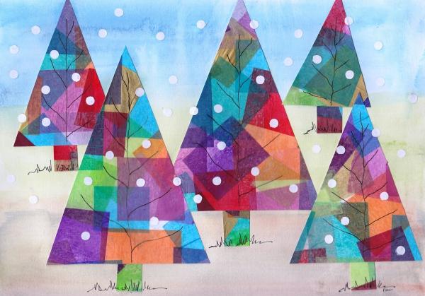Winterlandschaft basteln – weihnachtliche Ideen, fantastisch einfache Anleitungen und Tipps drachenpapier bunt glasmalerei bäume
