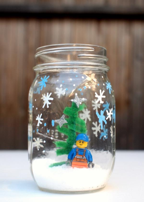 Winterlandschaft basteln – weihnachtliche Ideen, fantastisch einfache Anleitungen und Tipps einmachglas deko pfeifenputzer