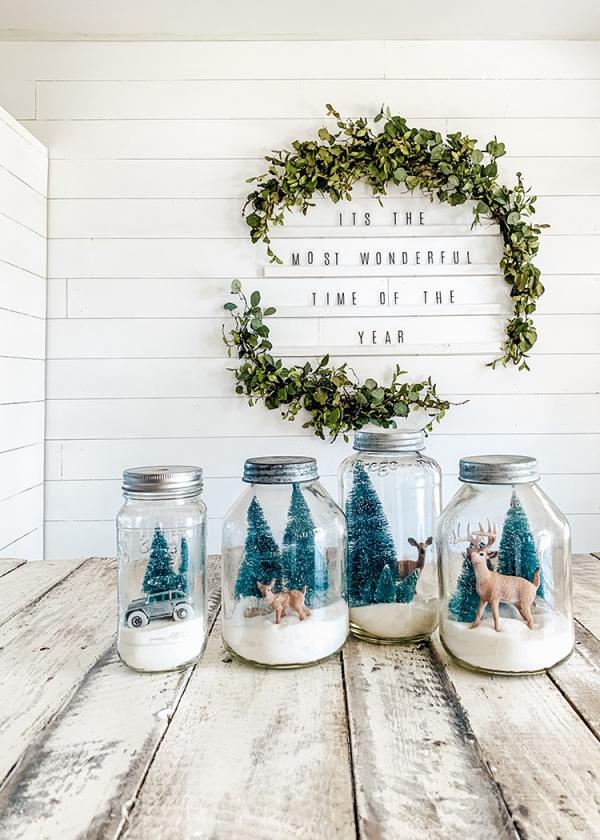 Winterlandschaft basteln – weihnachtliche Ideen, fantastisch einfache Anleitungen und Tipps einmachglas landschaft schneekugel
