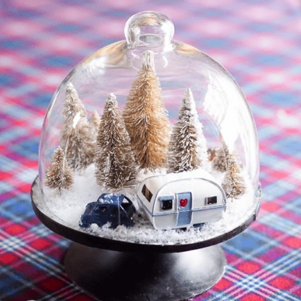 Winterlandschaft basteln – weihnachtliche Ideen, fantastisch einfache Anleitungen und Tipps glas deko mit wohnwagen