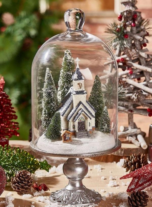 Winterlandschaft basteln – weihnachtliche Ideen, fantastisch einfache Anleitungen und Tipps kirche landschaft unter glas