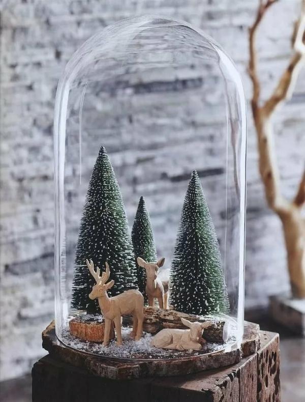 Winterlandschaft basteln – weihnachtliche Ideen, fantastisch einfache Anleitungen und Tipps landschaft holz hirsche unter glas