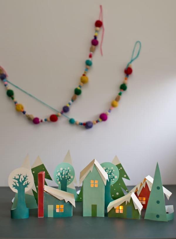 Winterlandschaft basteln – weihnachtliche Ideen, fantastisch einfache Anleitungen und Tipps papier dorf häuser