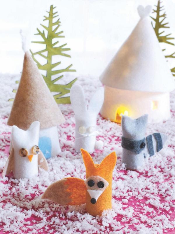 Winterlandschaft basteln – weihnachtliche Ideen, fantastisch einfache Anleitungen und Tipps papprollen tiere filz wald