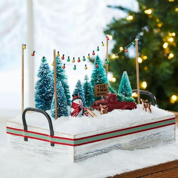 Winterlandschaft basteln – weihnachtliche Ideen, fantastisch einfache Anleitungen und Tipps tannenbäume deko landschaft diy