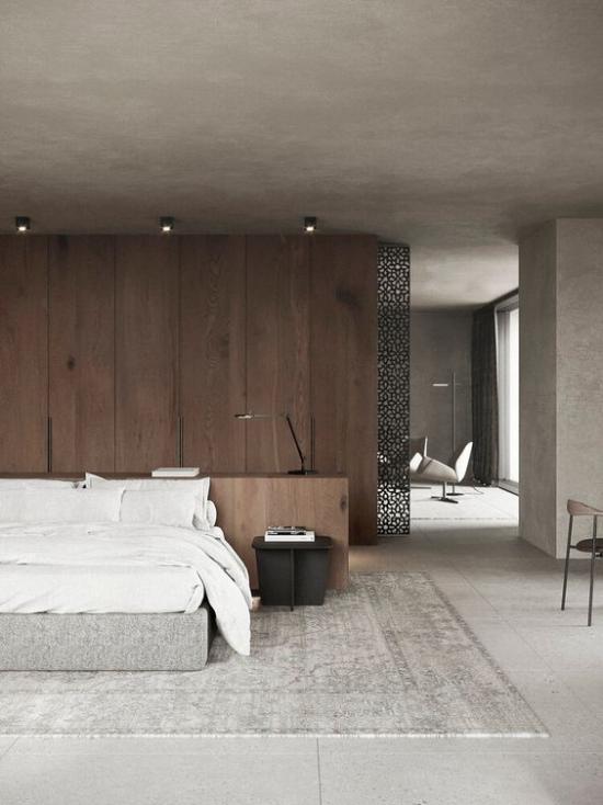 Zen Schlafzimmer Grau Weiß Schwarz Beige dominieren dezente Farbtöne