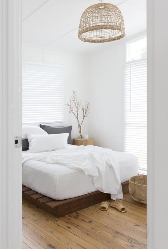 Zen Schlafzimmer eine frische grüne Note ins Interieur bringen Zweige einfaches Design