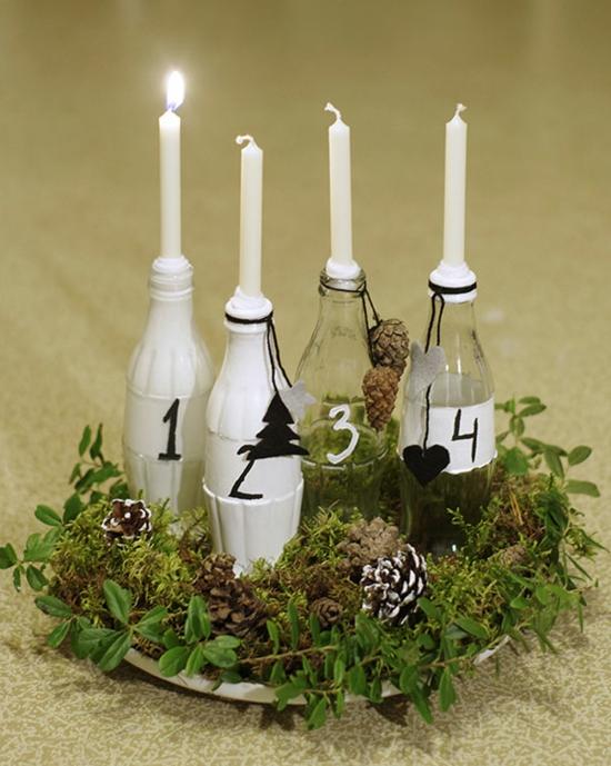 adventskranz basteln glasflaschen upcycling idee