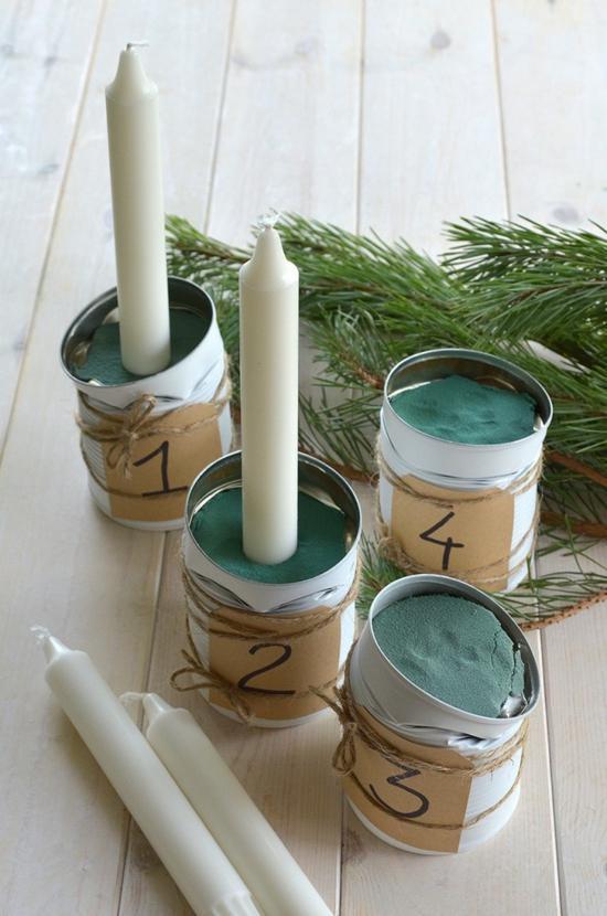 diy adventskranz basteln aus blechdosen