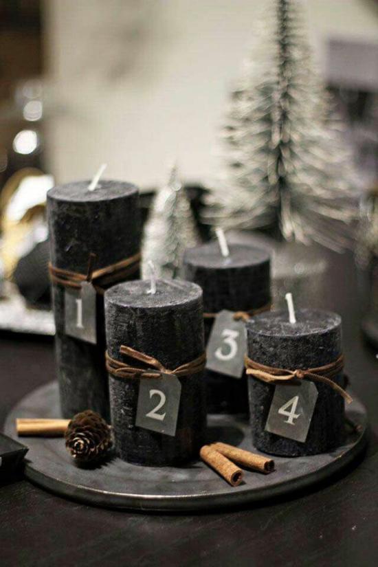 diy adventskranz minimalistisch schwarze kerzen