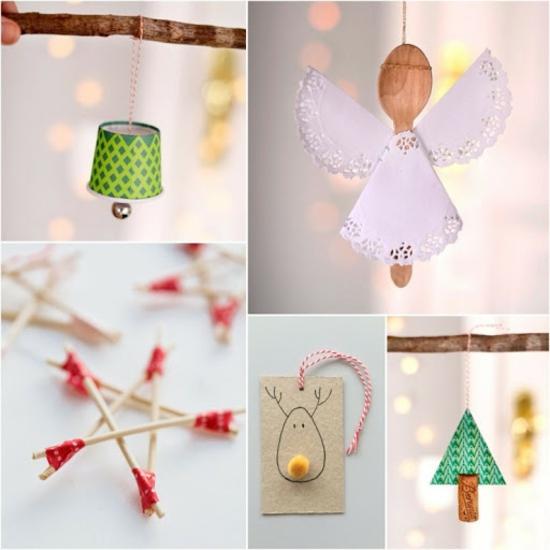 einfache günstige weihnachtsdeko selber machen aus holz und papier