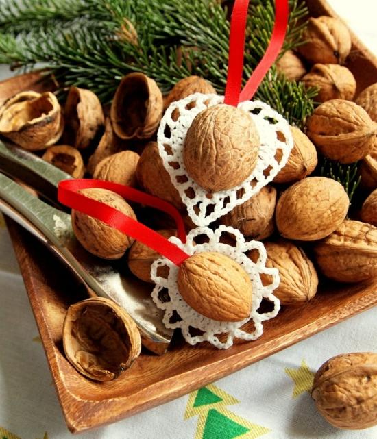günstige weihnachtsdeko basteln mit walnüssen