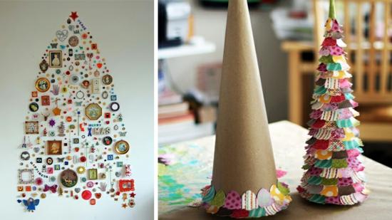 günstige weihnachtsdeko basteln tannen aus papier
