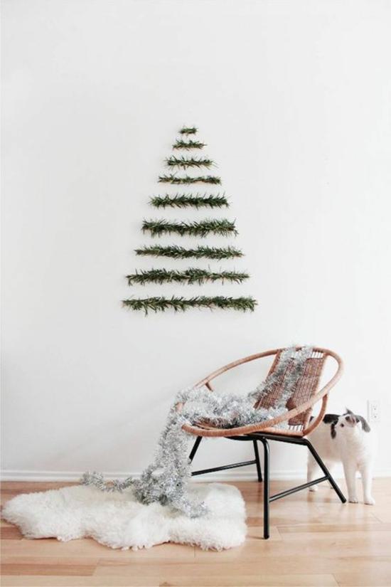 günstige weihnachtsdeko basteln wanddeko tannenbaum