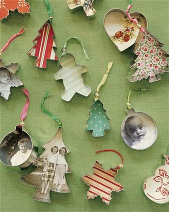 günstige weihnachtsdeko christbaumschmuck basteln mit fotos und aussteckformen