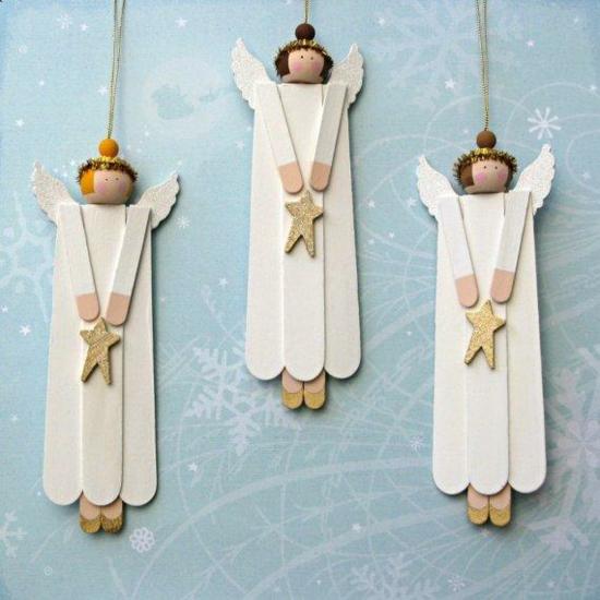 günstige weihnachtsdeko engel aus holzstäbchen basteln