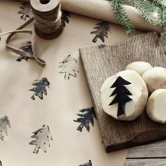 günstige weihnachtsdeko geschenkpapier selber machen