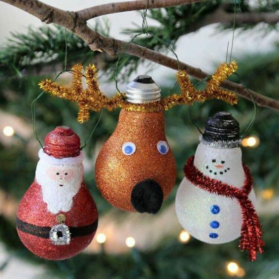 günstige weihnachtsdeko lustigen weihnachtsschmuck aus glühbirnen