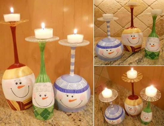 günstige weihnachtsdeko mit weingläsern basteln