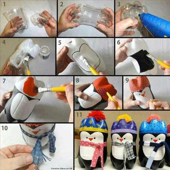 günstige weihnachtsdeko pinguin basteln aus pet flaschen