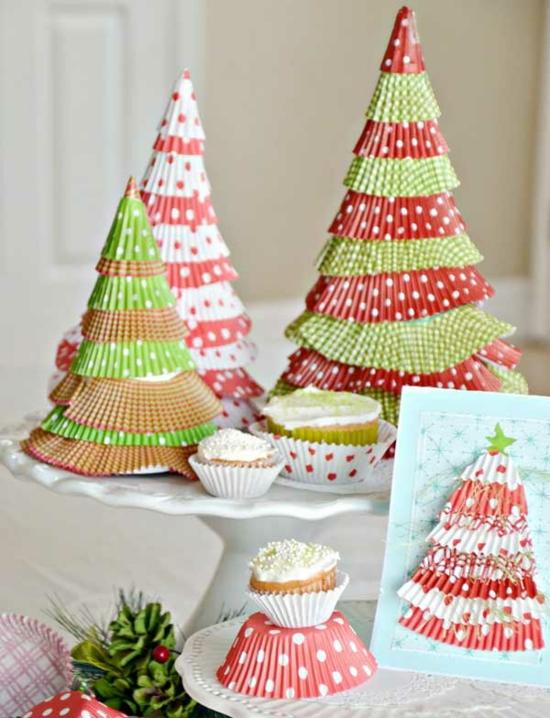 günstige weihnachtsdeko tannenbäume aus muffinförmchen