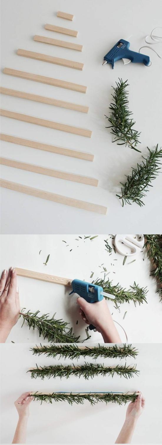 günstige weihnachtsdeko wanddeko tannenbaum basteln