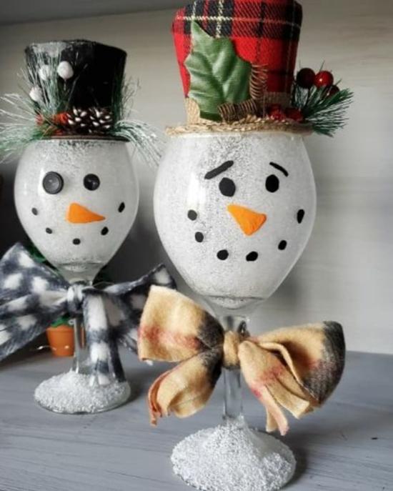 günstige weihnachtsdeko weingläser schneemänner