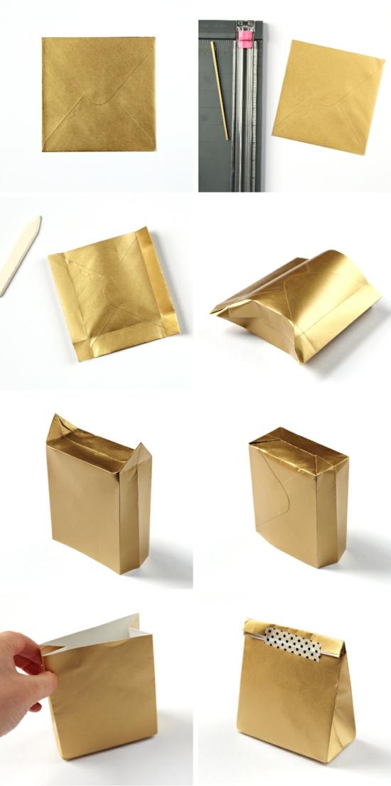 geschenktüte basteln gold bastelpapier