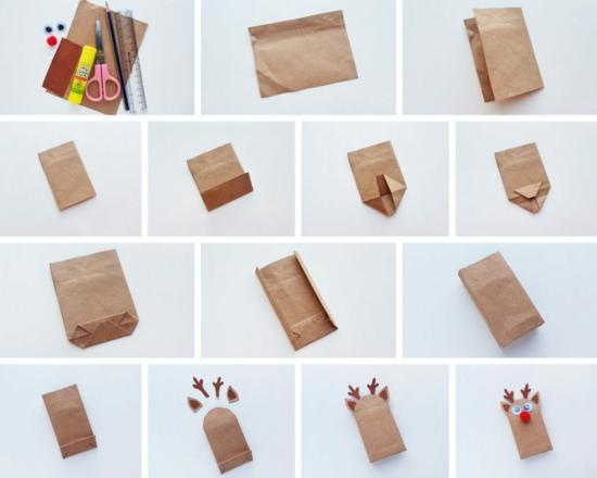 geschenktüte basteln rentier aus packpapier