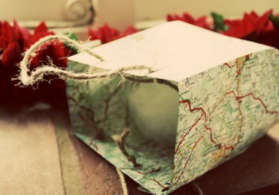 landkarte geschenktüte basteln