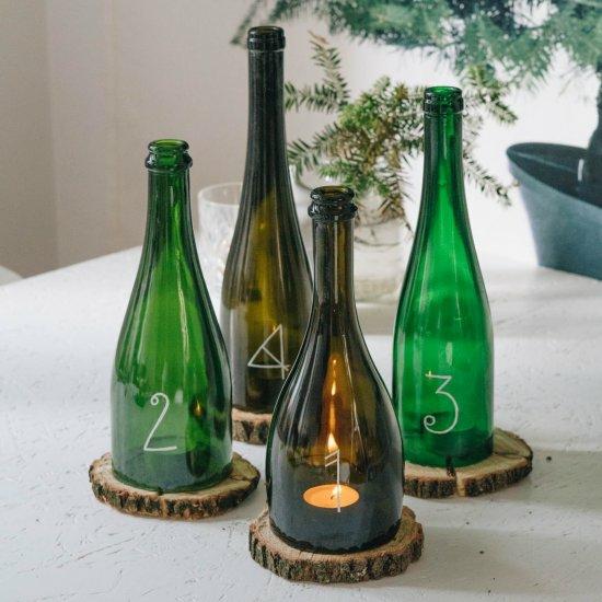 last minute adventskranz basteln glasflaschen