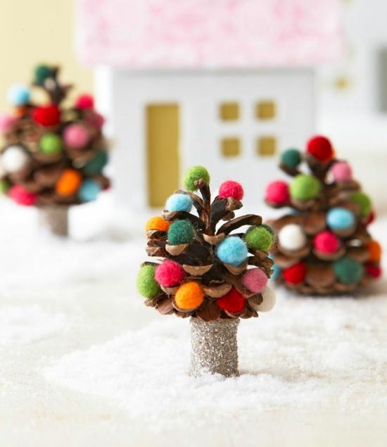 mini tannenbäume aus zapfen günstige weihnachtsdeko