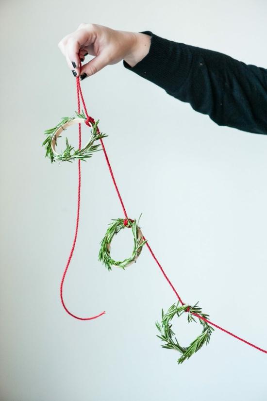 puristische girlande rosmarin günstige weihnachtsdeko