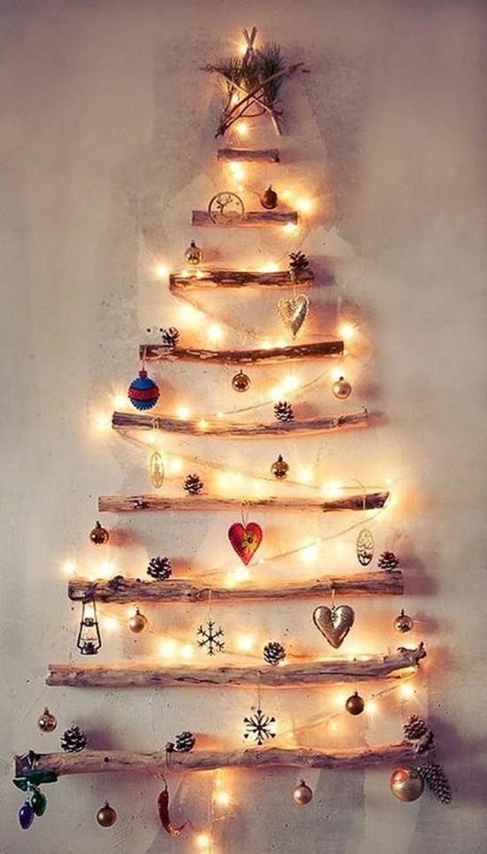 puristischer weihnachtsbaum aus ästen günstige weihnachtsdeko