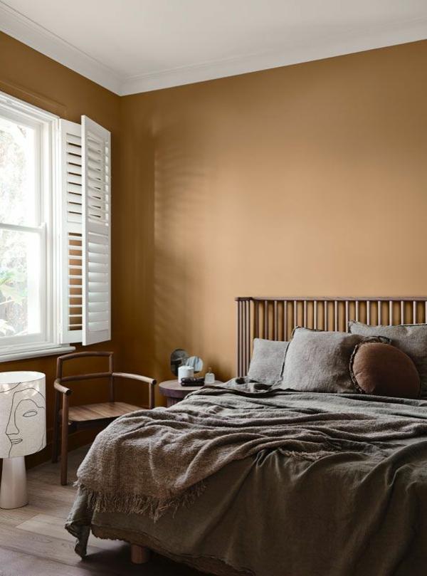 schlafzimmer wandfarbe trendfarben 2021 terrakotta