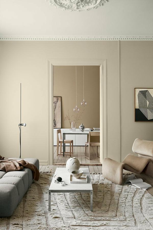 trendfarben 2021 sanfte neutrale farbtöne wohnzimmer wandfarbe