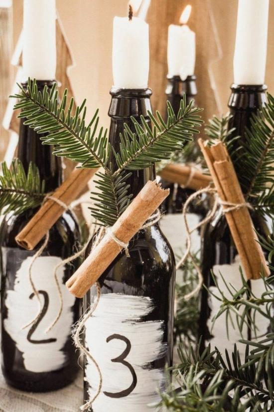 upcycling adventskranz basteln glasflaschen