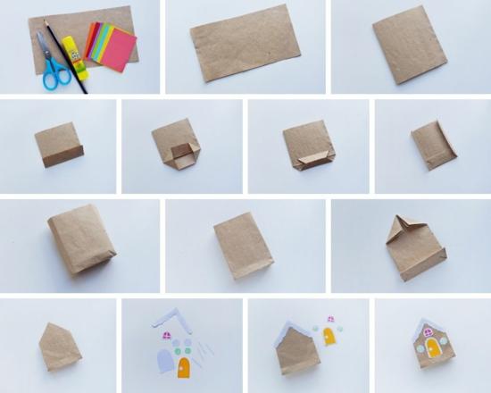 weihnachtshäuschen geschenktüte basteln aus packpapier