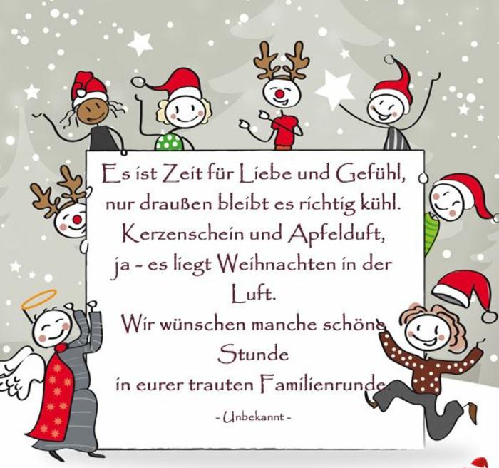 weihnachtskarte schreiben lustige Weihnachtssprüche zum nachdenken kinder