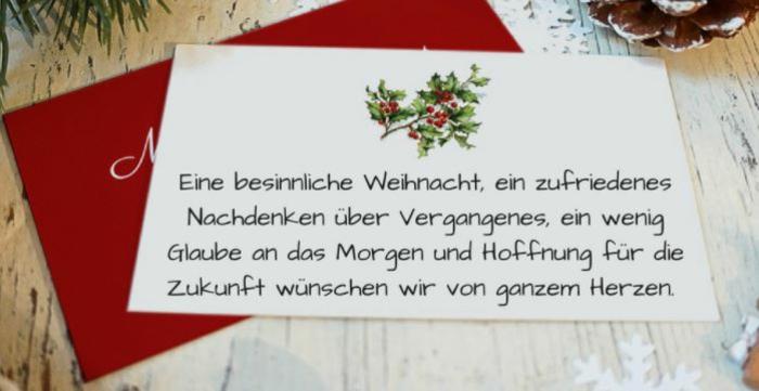 weihnachtskarte schreiben schöne Weihnachtssprüche zum nachdenken