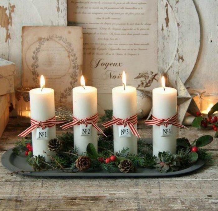 weihnachtskerzen selber machen adventsteller nomeriert