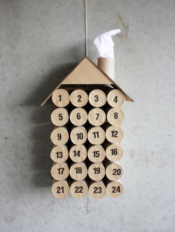 Basteln mit Toilettenpapierrollen zu Weihnachten – kreative Upcycling Ideen und Anleitung adventskalender diy haus deko