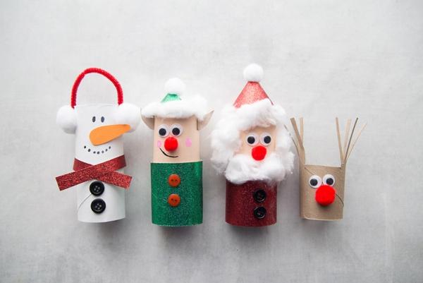 Basteln mit Toilettenpapierrollen zu Weihnachten – kreative Upcycling Ideen und Anleitung figuren niedlich lustig