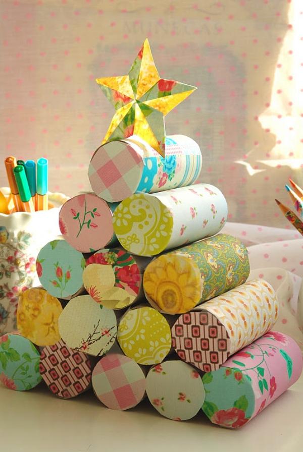 Basteln mit Toilettenpapierrollen zu Weihnachten – kreative Upcycling Ideen und Anleitung retro upcycling papierreste baum