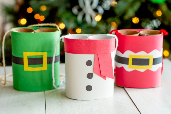Basteln mit Toilettenpapierrollen zu Weihnachten – kreative Upcycling Ideen und Anleitung weihnachten fernglas ideen kinder spiel