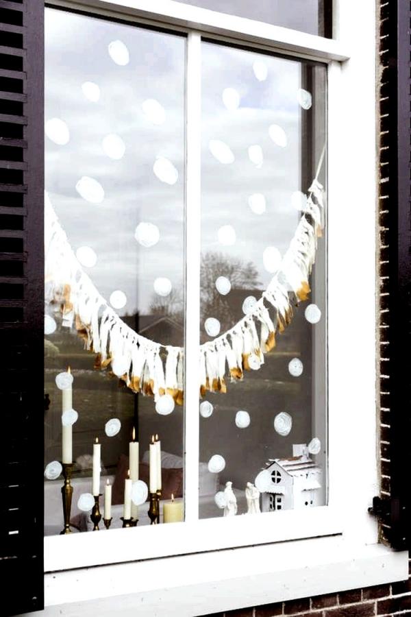 Fensterbilder basteln zu Weihnachten – zauberhafte Ideen und Anleitungen schneeflocken einfach rund deko