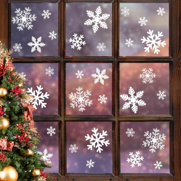 Fensterdeko zu Weihnachten Sterne Aufkleber Schneeflocken